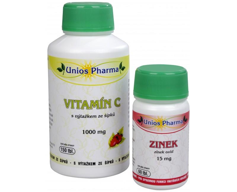 Unios Pharma Vitamín C 1000 mg se šípkem + Zinek 15 mg ZDARMA 150 tbl. + 60 tbl.