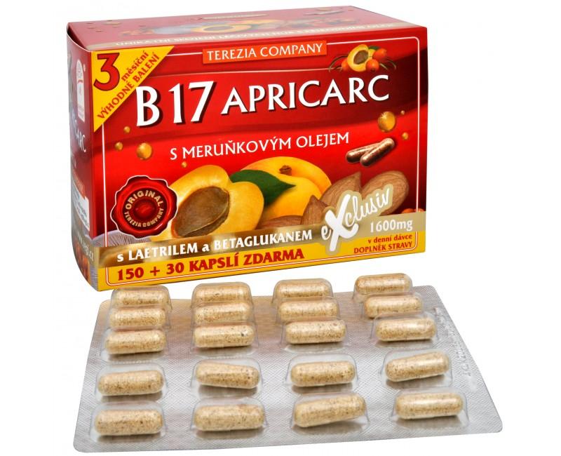 Fotografie Terezia Company B17 Apricarc s meruňkovým olejem 150 kapslí + 30 kapslí ZDARMA
