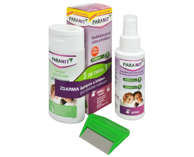 Fotografie Paranit sprej 60 ml + 40 ml ZDARMA + šampon 100 ml ZDARMA + hřeben ZDARMA