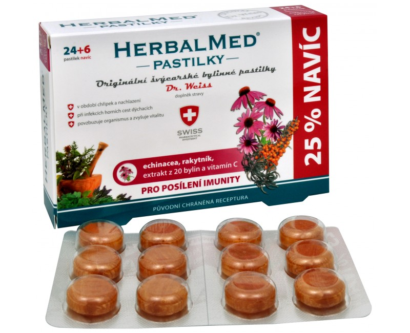 Fotografie Simply You HerbalMed pastilky Dr. Weiss pro posílení imunity 24 pastilek + 6 pastilek ZDARMA