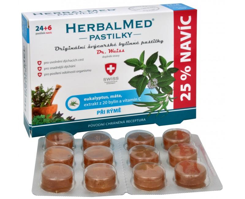 Fotografie Simply You HerbalMed pastilky Dr. Weiss při rýmě 24 pastilek + 6 pastilek ZDARMA