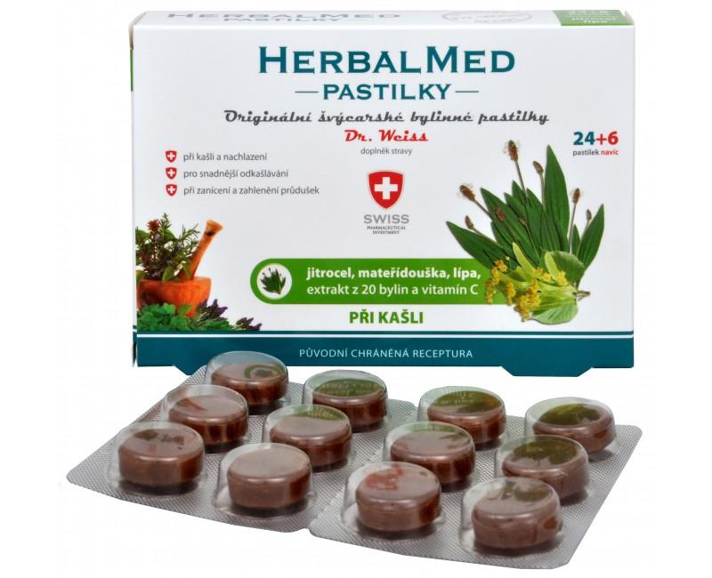 Fotografie Simply You HerbalMed pastilky Dr. Weiss při kašli 24 pastilek + 6 pastilek ZDARMA
