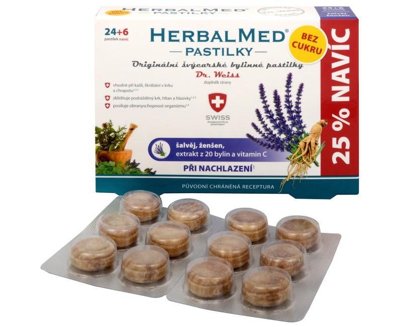 Fotografie Simply You HerbalMed pastilky Dr. Weiss při nachlazení bez cukru 24 pastilek + 6 pastilek ZDARMA