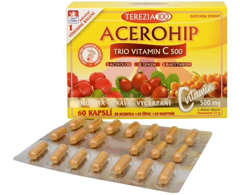 Fotografie Acerohip Trio vitamín C 500 mg 60 kapslí