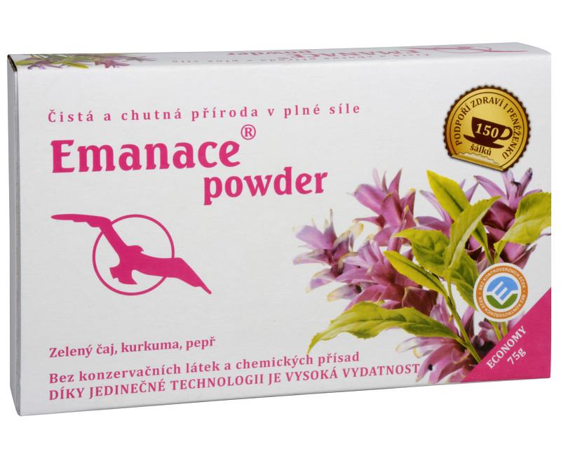 Emanace powder - zelený čaj, kurkuma, pepř 75 g