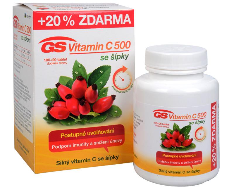 Fotografie GS Vitamin C 500 + šípky 100 tbl. + 20 tbl. ZDARMA
