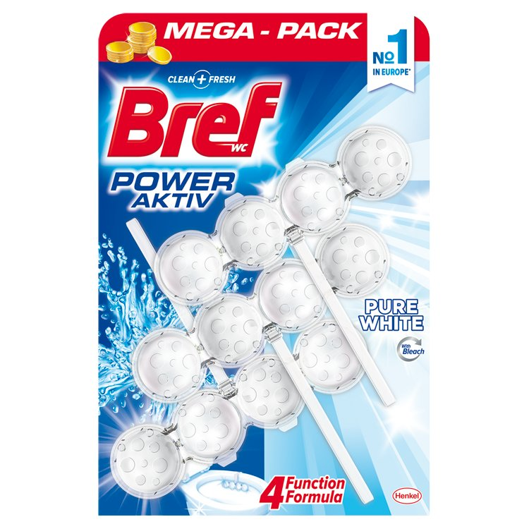 Bref Power Aktiv WC blok Pure White 3 x 50 g