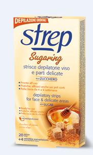 Strep Sugaring voskové depilační pásky na obličej a oblast bikin 20 ks + 4 ubrousky