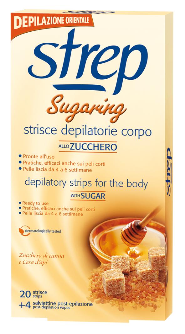 Strep Sugaring voskové depilační pásky na tělo 20 ks + 4 ubrousky