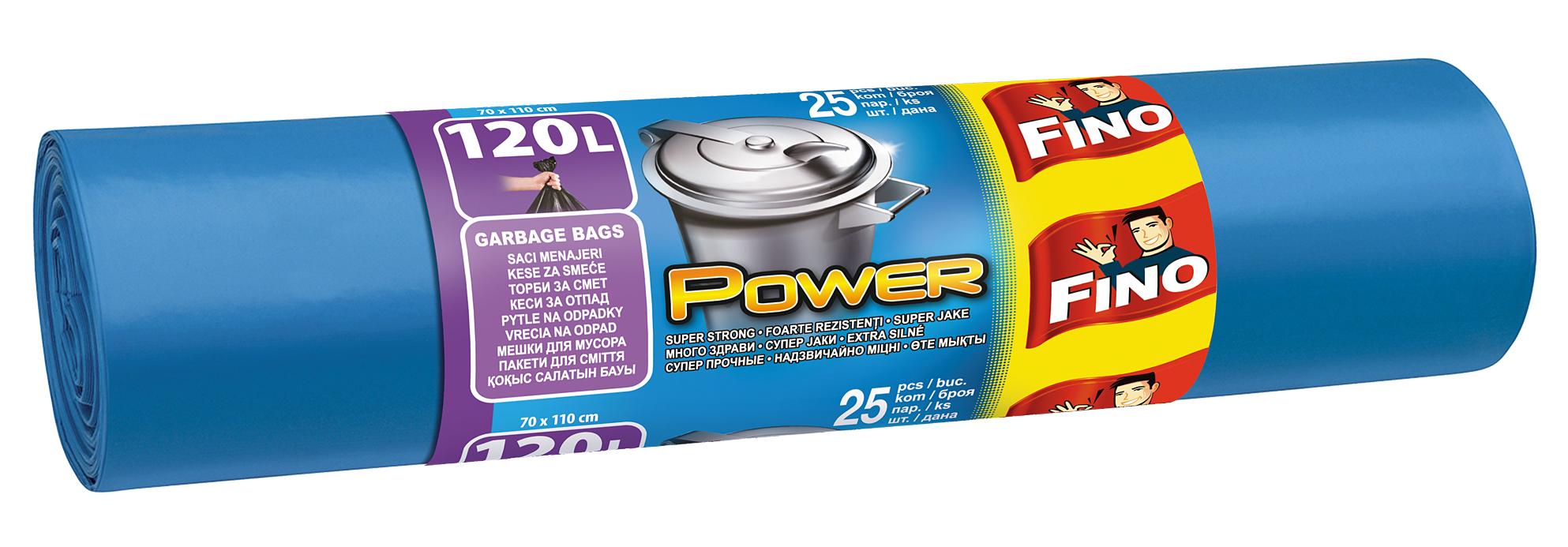 Fotografie Fino Power odpadkové pytle extra silné, 120 l 25 ks