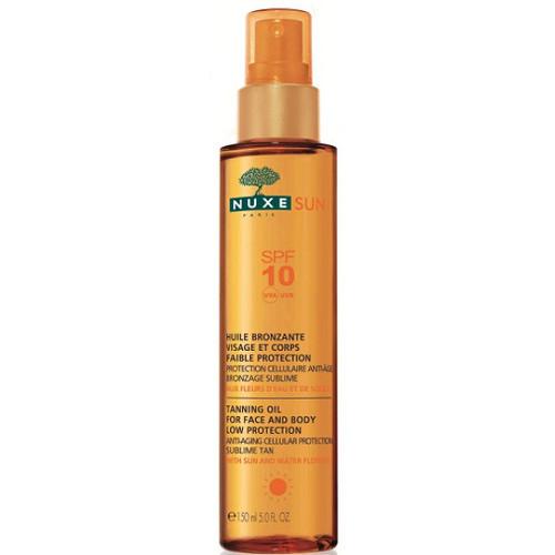Nuxe Sun bronzující olej na opalování na obličej a tělo SPF 10 150 ml