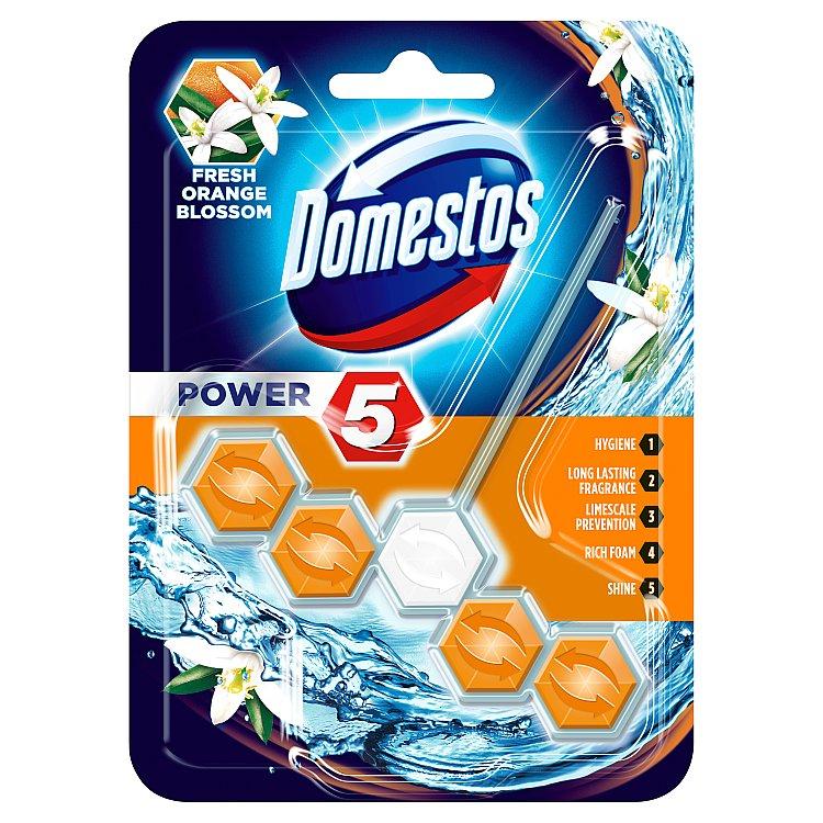 Domestos Power 5 Pomerančový květ tuhý WC blok 55 g