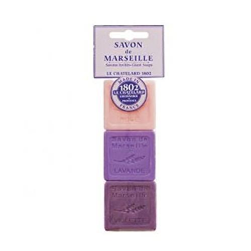 Le Chatelard Sada tří luxusních francouzských přírodních mýdel Růže + levandule + fialka 3 x 30 g