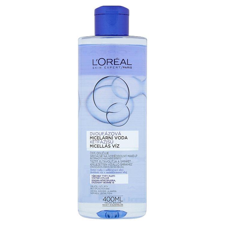 Fotografie L'Oréal Paris Micellar Water dvoufázová micelární voda pro všechny typy pleti včetně citlivé 400 ml