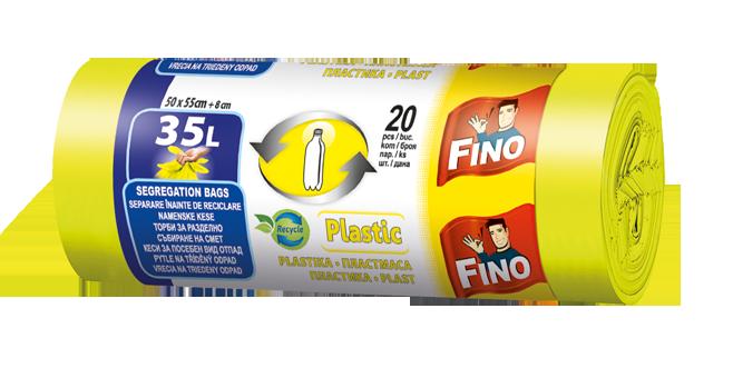 Fotografie Fino pytle na tříděný odpad plast, 35 l 20 ks