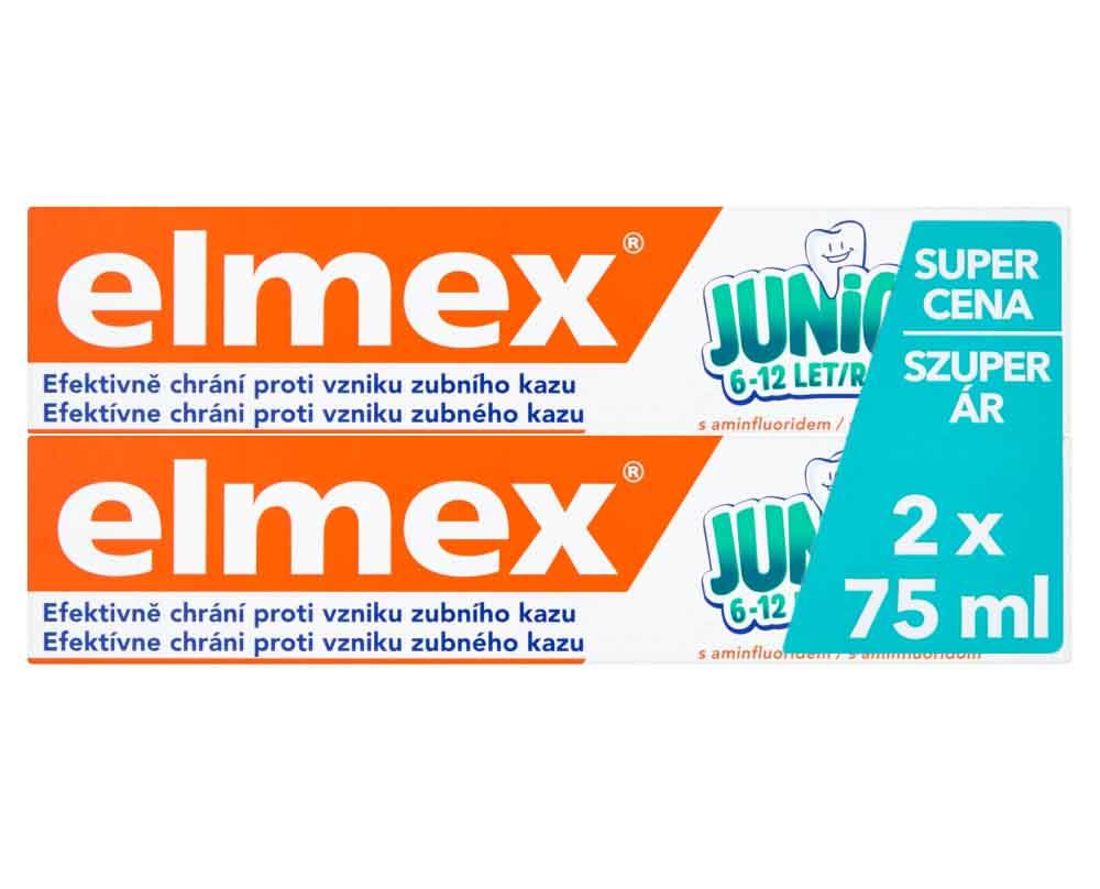 Fotografie Elmex Junior zubní pasta s aminfluoridem 6-12 let 2 x 75 ml