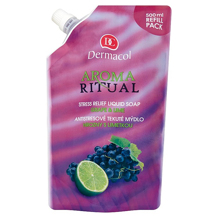 Dermacol Aroma Ritual antistresové tekuté mýdlo hrozny s limetkou náhradní náplň 500 ml