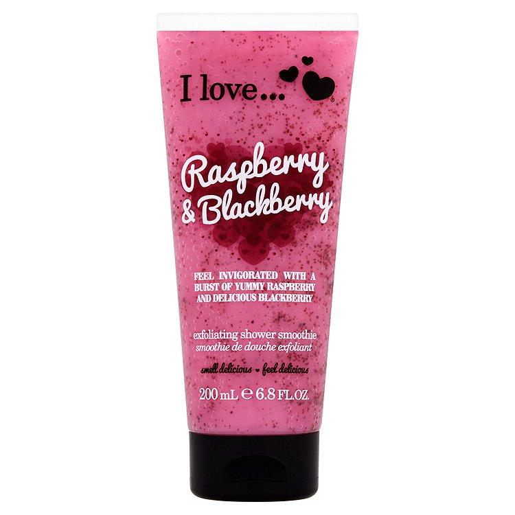 I Love Raspberry & Blackberry přírodní sprchový peeling s vůní malin a ostružin 200 ml