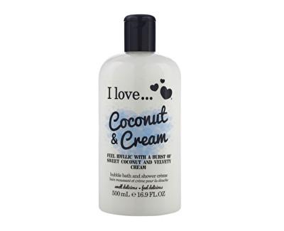 I Love Coconut & Cream koupelový a sprchový krém s vůní kokosu a sladkého krému 500 ml