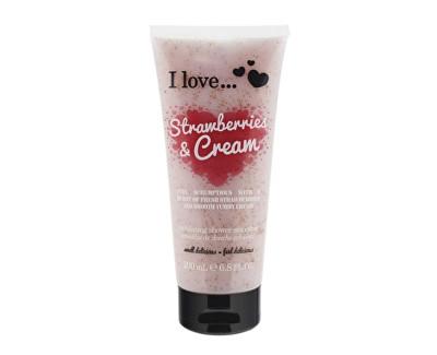 I Love Strawberries & Cream přírodní sprchový peeling s vůní jahod a jemného krému 200 ml