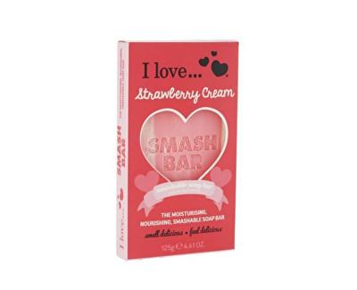 Fotografie I Love Smash Bar Strawberry Cream hydratační a vyživující mýdlo s vůní jahodového krému 125 g