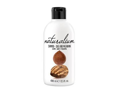 Fotografie Naturalium Shea And Macadamia regenerační šampon pro suché a poškozené vlasy s bambuckým máslem a makadamiovým olejem 400 ml