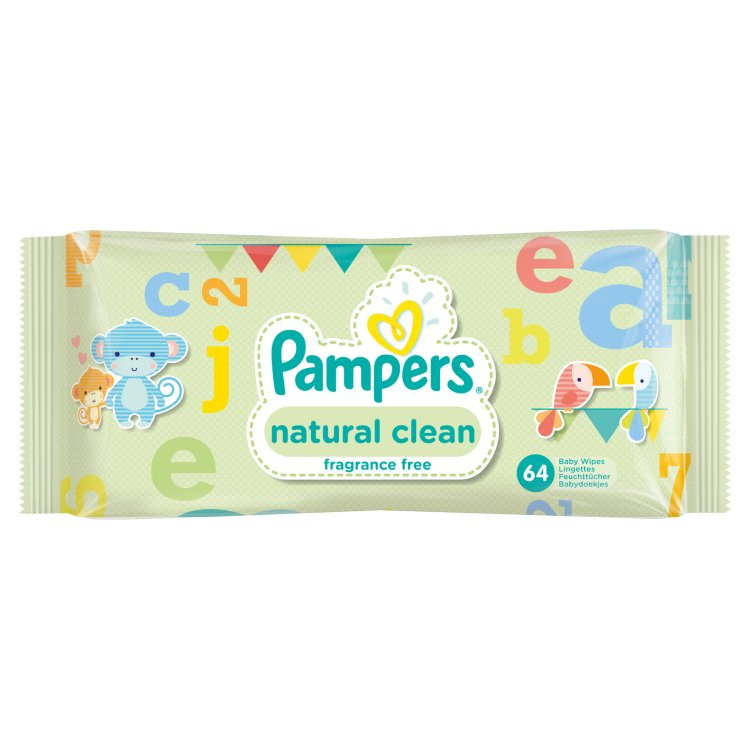 Pampers Natural Clean ubrousky 64 ks