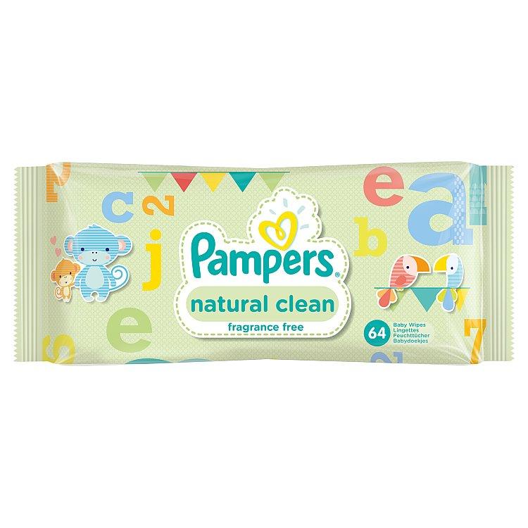 Fotografie Pampers Natural Clean ubrousky 64 ks