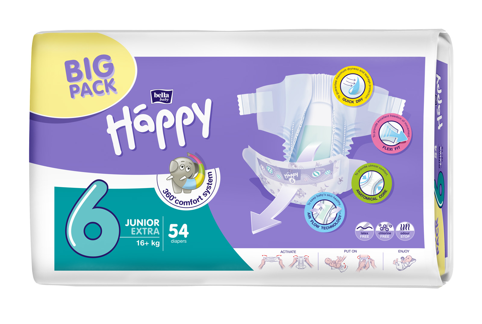Bella Happy plenky Junior Extra BIG PACK 54 ks