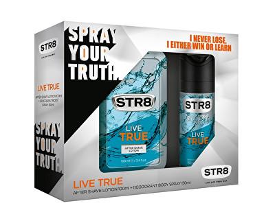 STR8 Live True dárková sada - voda po holení + deodorant ve spreji 100 ml + 150 ml