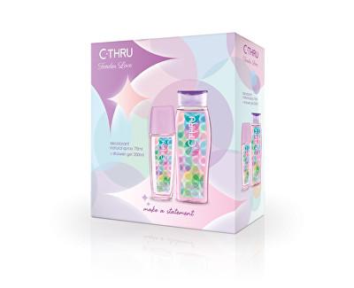 C-Thru Tender Love - deodorant s rozprašovačem + sprchový gel 75 ml + 250 ml