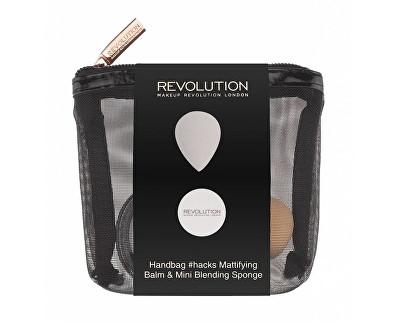 Fotografie Makeup Revolution cestovní sada na tvář Handbag Hacks Mattifying Balm & Mini Blending Sponge