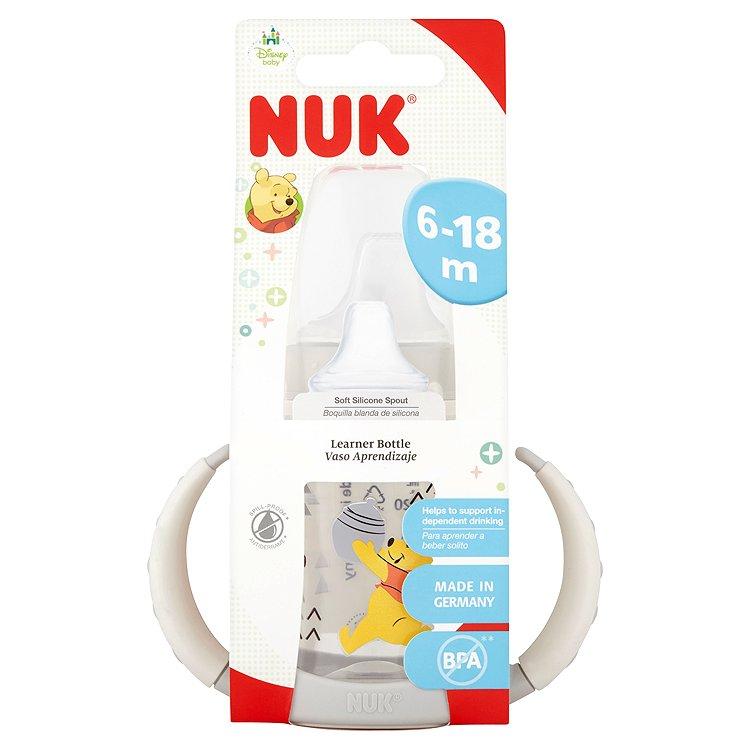 NUK First Choice lahvička na učení se silikonovým pítkem Disney Medvídek Pú šedivá