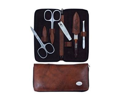 Credo Solingen Rodriguez luxusní 5dílná manikúra v hnědém koženém pouzdře