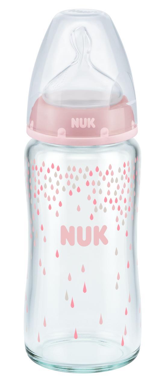 NUK First Choice skleněná láhev velikost 1, 240 ml, růžová