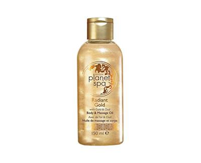 Avon Planet Spa rozjasňující třpytivý tělový a masážní olej se zlatými částečkami a olejem z agarového dřeva 150 ml