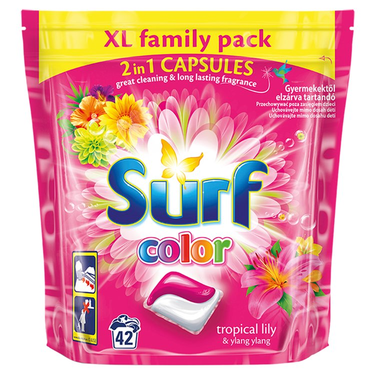 Surf Color Tropical Lily duo gelové kapsle, 42 praní 42 ks