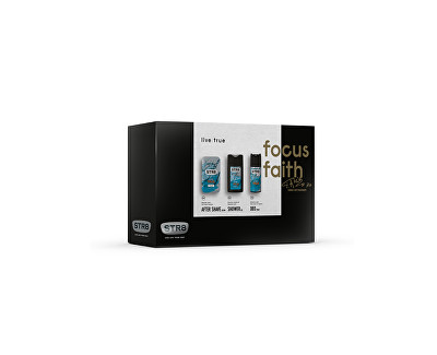 STR8 Live True dárková sada - voda po holení + deodorant ve spreji + sprchový gel 50 ml + 150 ml + 250 ml