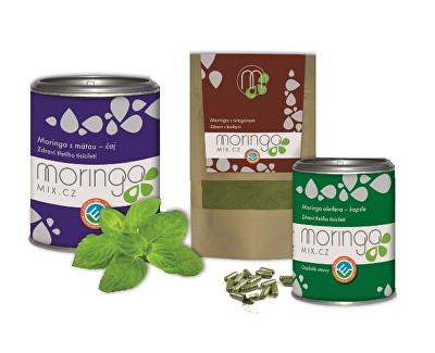 Dárkové balení Moringa oleifera s mátou 100 g + Moringa oleifera s oregánem 30 g + Moringa oleifera 180 kapslí