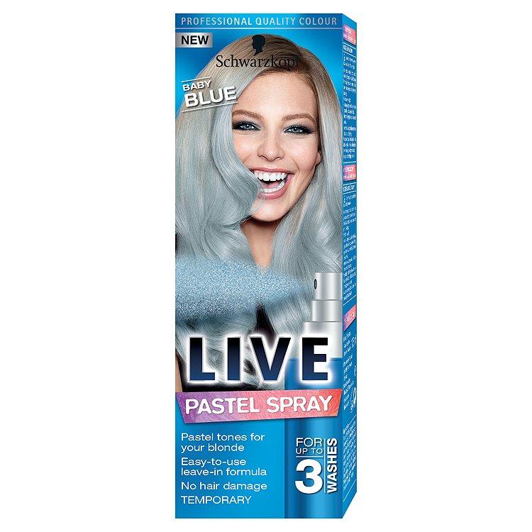 Fotografie Schwarzkopf Live Pastel Spray Baby Blue barva na vlasy 125 ml