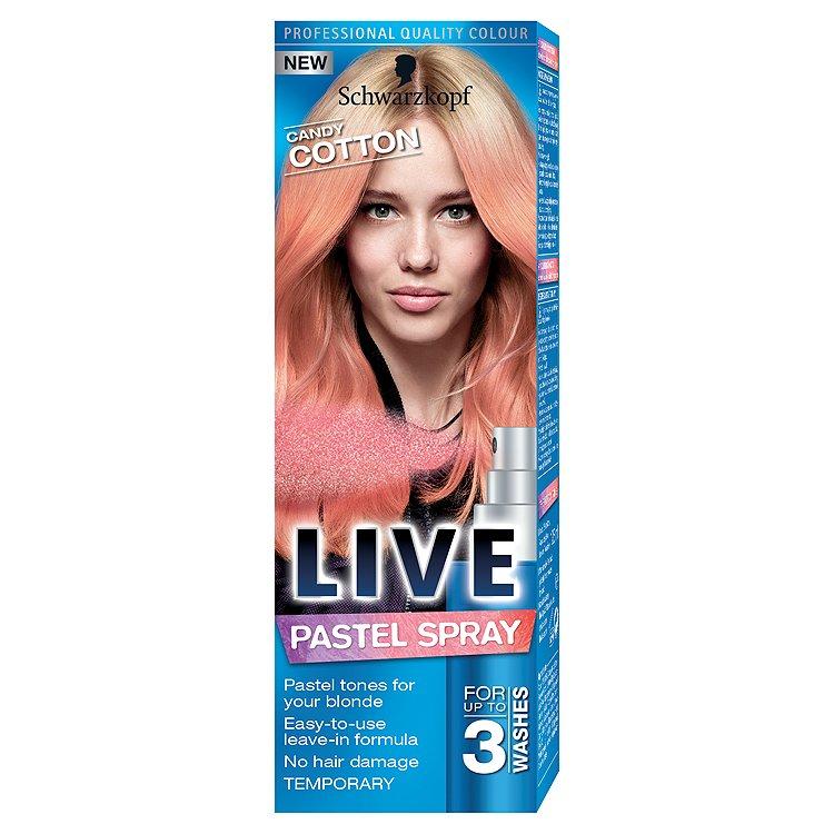 Fotografie Schwarzkopf Live Pastel Spray Candy Cotton barva na vlasy 125 ml
