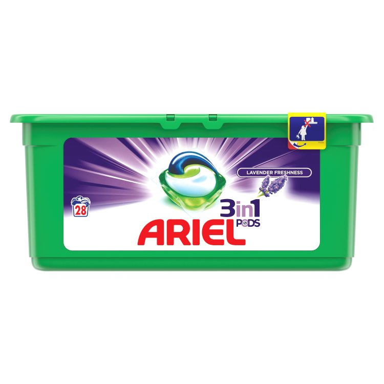 Ariel Lavender Fresh gelové kapsle 3 v 1, 28 praní 28 ks