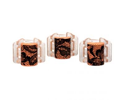 Fotografie Malý skřipec MINI 3 ks - oranžový s krajkou