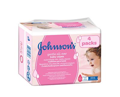 Fotografie Johnson's Baby vlhčené ubrousky Baby Gentle Cleansing 4 x 56 ks