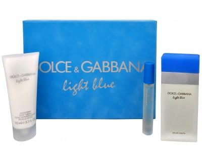 Light Blue - EDT 100 ml + tělový krém 100 ml + toaletní voda s rozprašovačem 7,4 ml