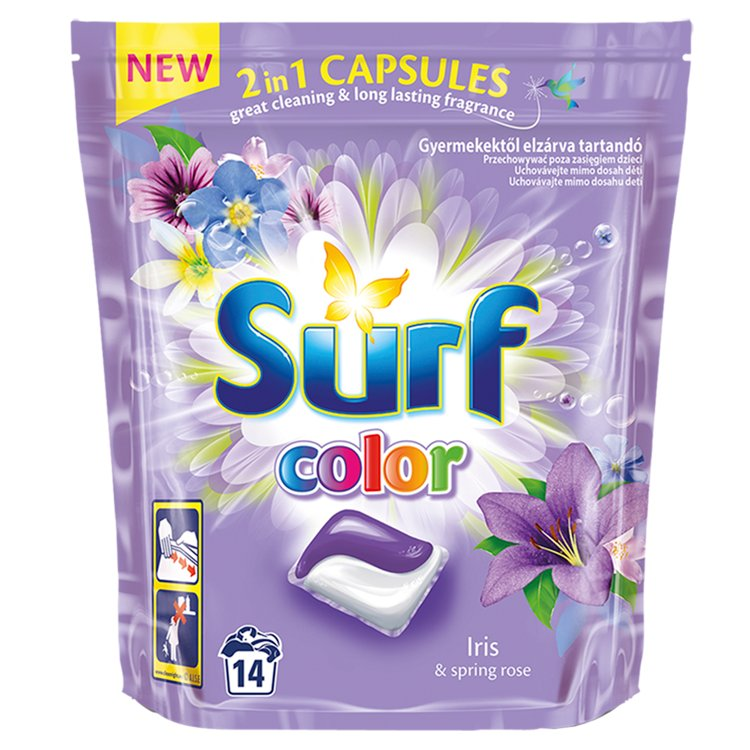 Surf Color Iris & Spring Rose 2v1 kapsle na praní 14 ks