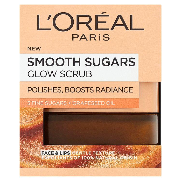 L'Oréal Paris Smooth Sugars Glow Scrub s hroznovým olejem 48 g