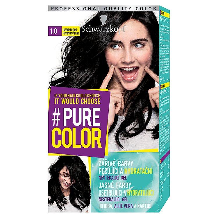 Fotografie Schwarzkopf Pure Color barva na vlasy Havraní Černá 1.0, 60 ml