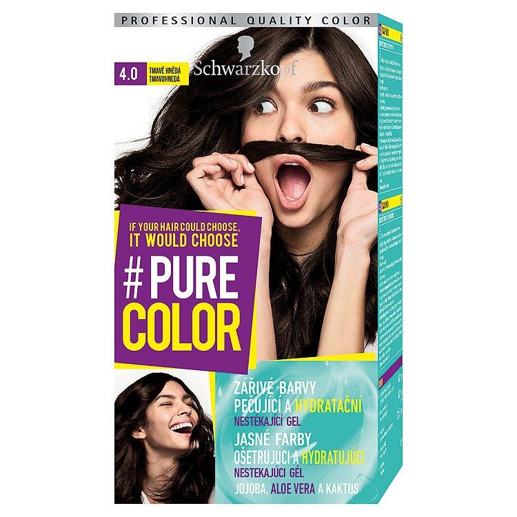 Fotografie Schwarzkopf Pure Color barva na vlasy Tmavě Hnědá 4.0, 60 ml