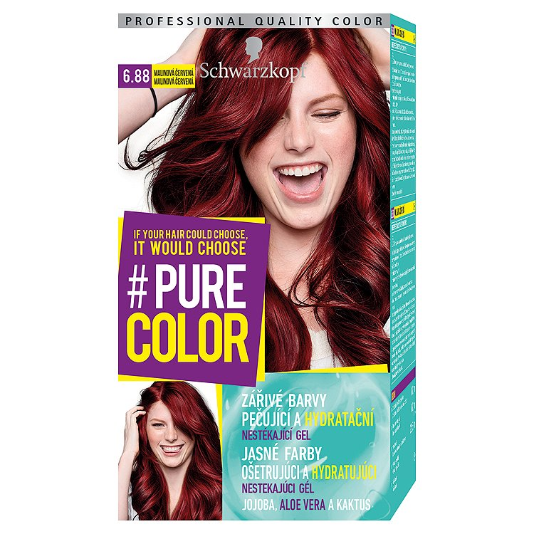 Fotografie Schwarzkopf Pure Color barva na vlasy Malinová Červená 6.88, 60 ml